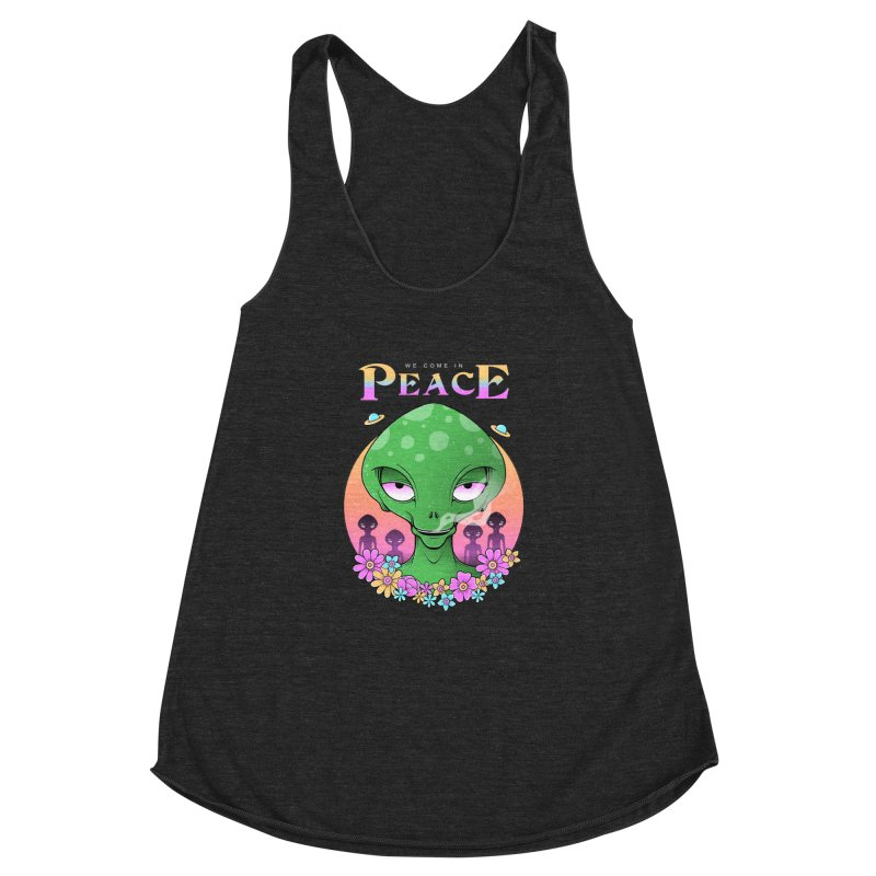We Come in Peace Women's Racerback Triblend Tank by godzillarge's Artist Shop