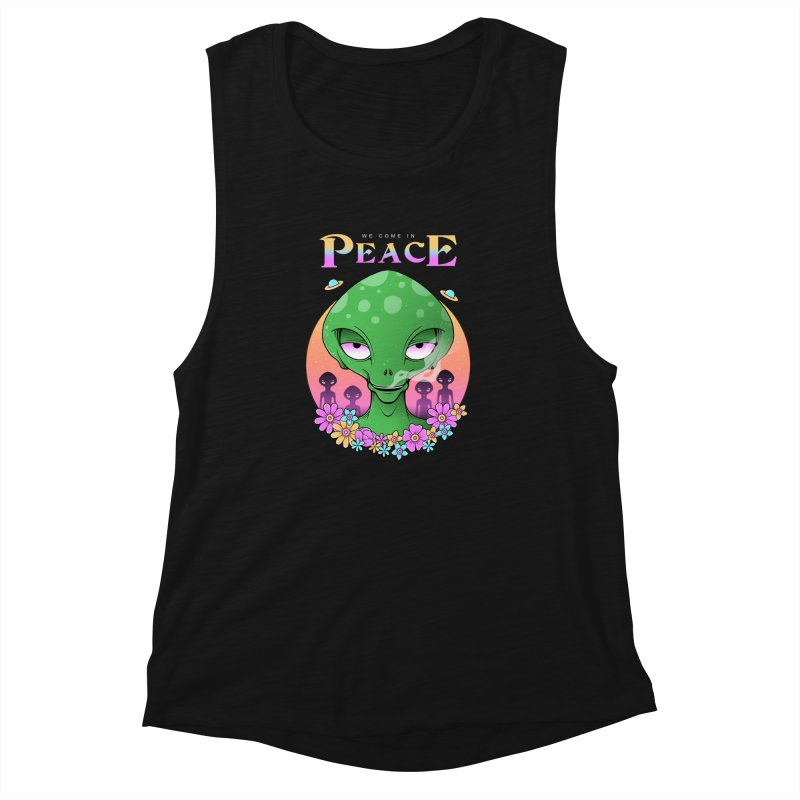 We Come in Peace Women's Muscle Tank by godzillarge's Artist Shop