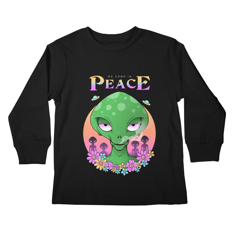 We Come in Peace Kids Longsleeve T-Shirt by godzillarge's Artist Shop