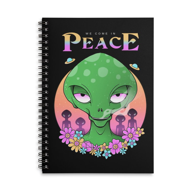 We Come in Peace Accessories Lined Spiral Notebook by godzillarge's Artist Shop
