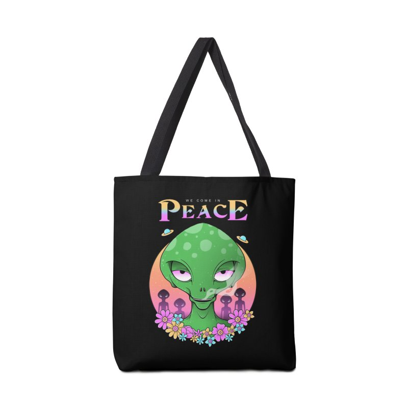 We Come in Peace Accessories Tote Bag Bag by godzillarge's Artist Shop