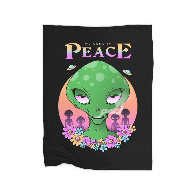 We Come in Peace Home Fleece Blanket Blanket by godzillarge's Artist Shop