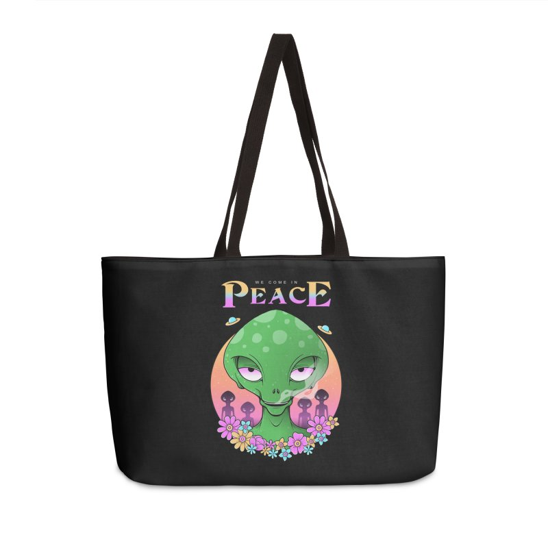 We Come in Peace Accessories Weekender Bag Bag by godzillarge's Artist Shop