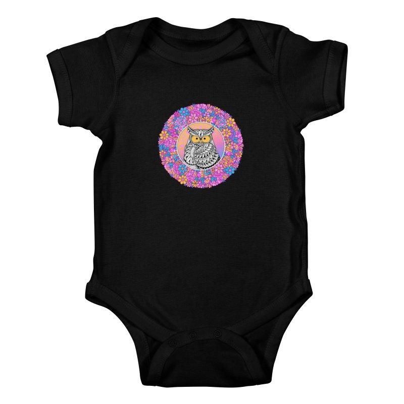 Spring Owl Kids Baby Bodysuit by godzillarge's Artist Shop