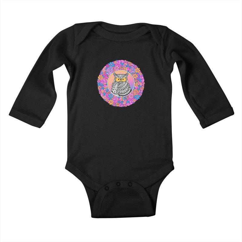 Spring Owl Kids Baby Longsleeve Bodysuit by godzillarge's Artist Shop
