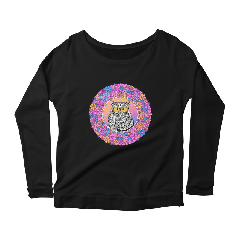 Spring Owl Women's Scoop Neck Longsleeve T-Shirt by godzillarge's Artist Shop