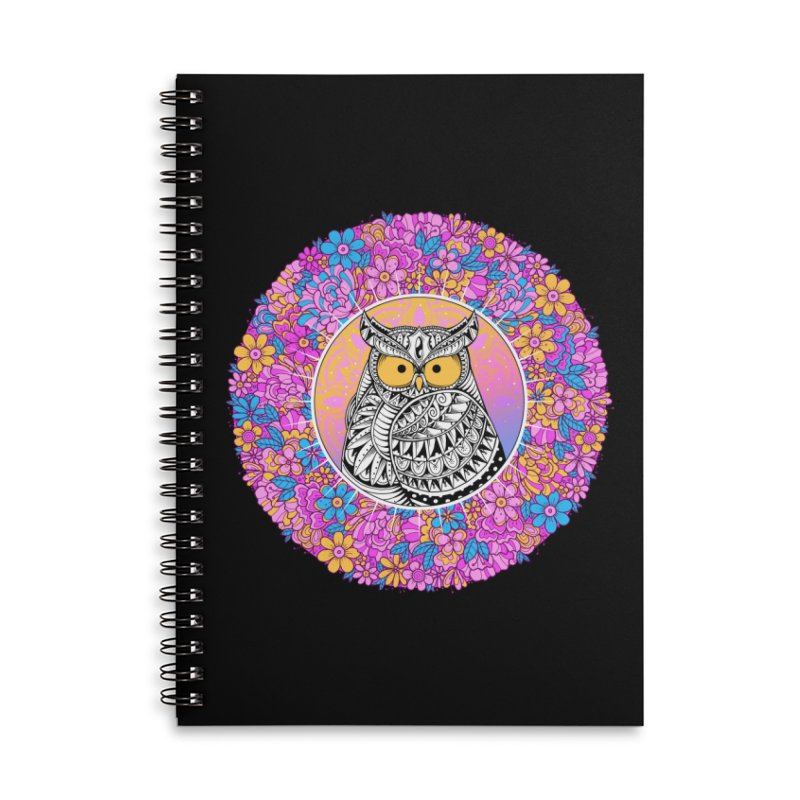 Spring Owl Accessories Lined Spiral Notebook by godzillarge's Artist Shop