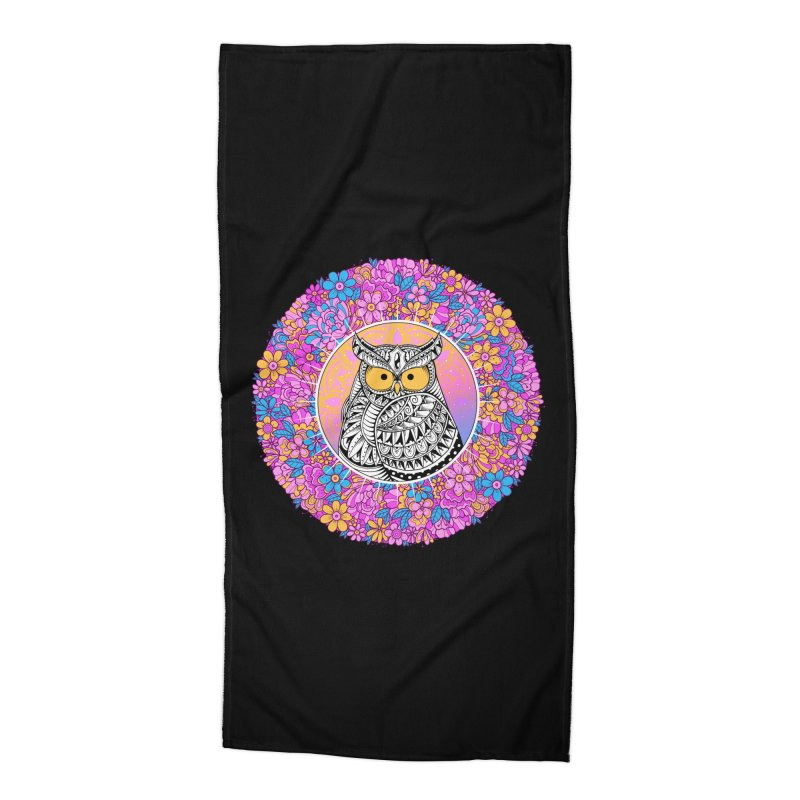 Spring Owl Accessories Beach Towel by godzillarge's Artist Shop
