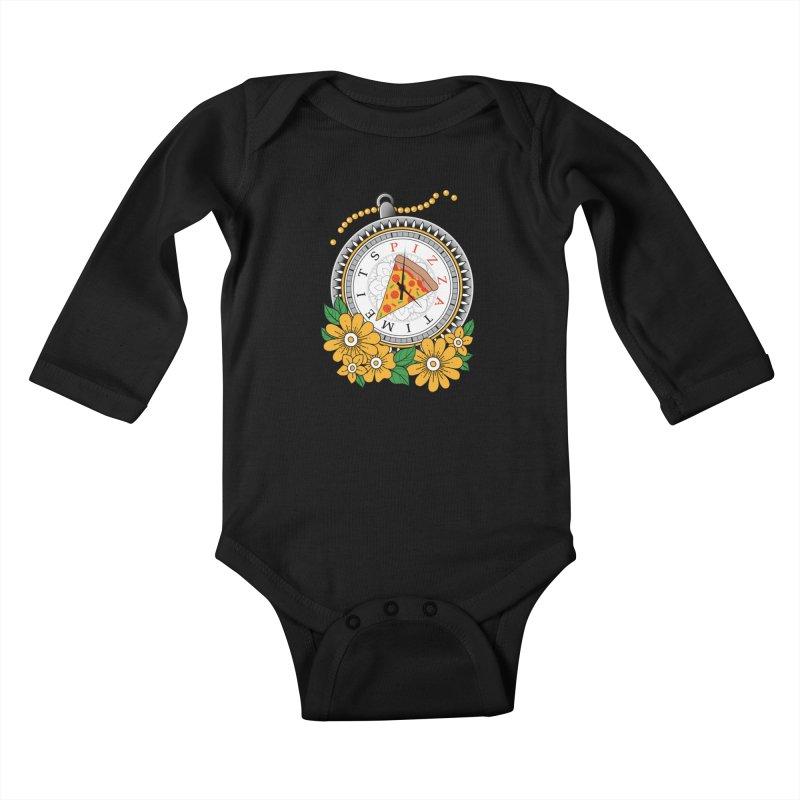 It's Pizza Time Kids Baby Longsleeve Bodysuit by godzillarge's Artist Shop
