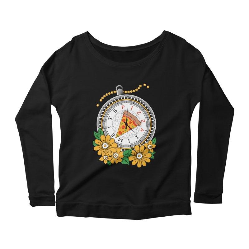 It's Pizza Time Women's Scoop Neck Longsleeve T-Shirt by godzillarge's Artist Shop