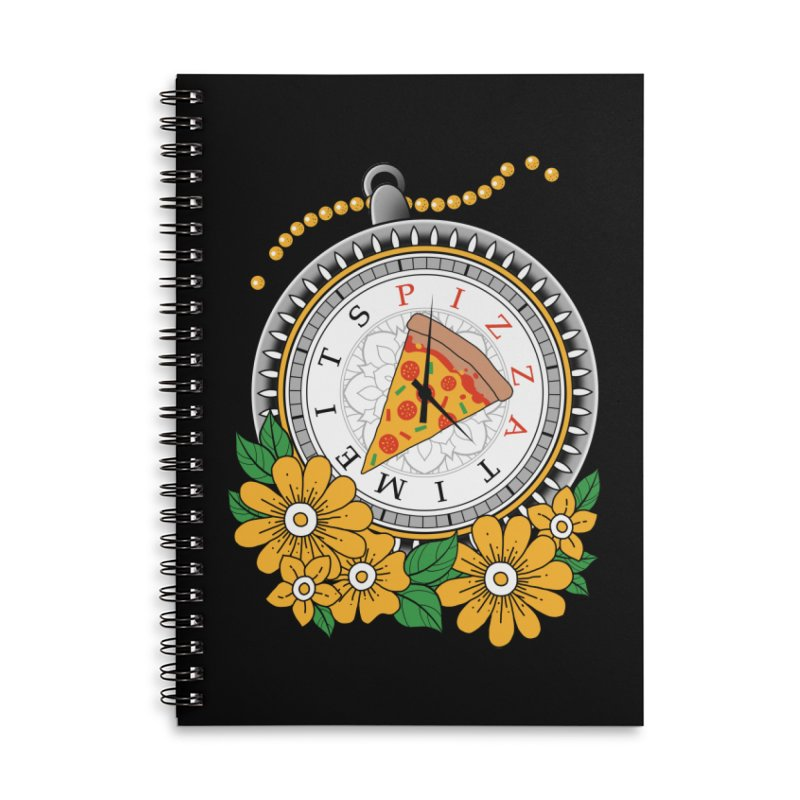 It's Pizza Time Accessories Lined Spiral Notebook by godzillarge's Artist Shop