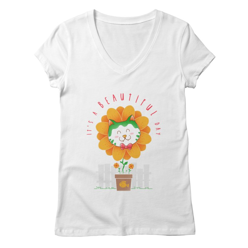 It's A Beautiful Day Women's Regular V-Neck by godzillarge's Artist Shop