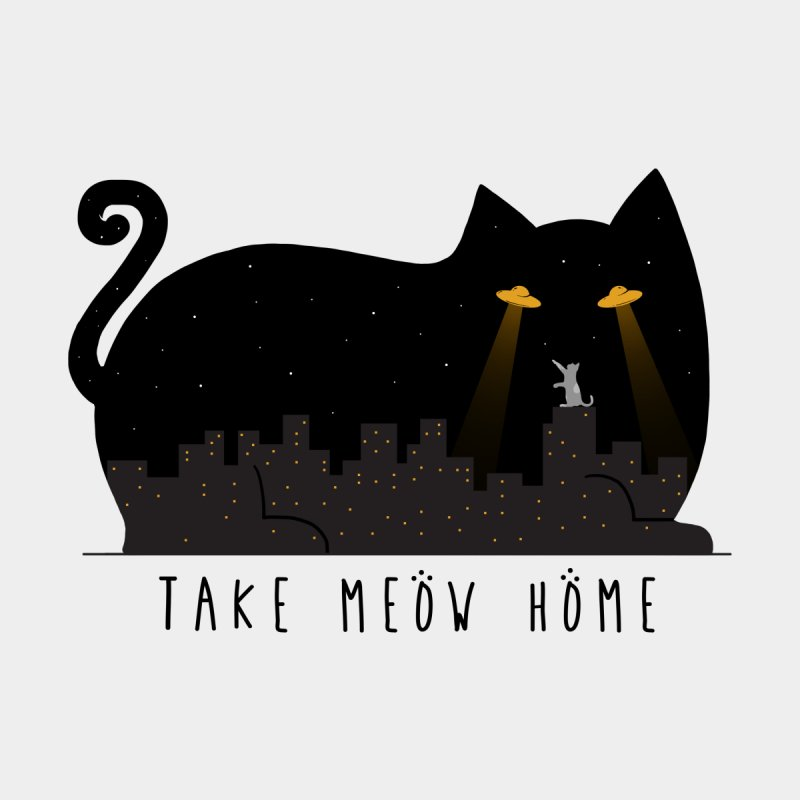 Take Meow Home Accessories Sticker by godzillarge's Artist Shop