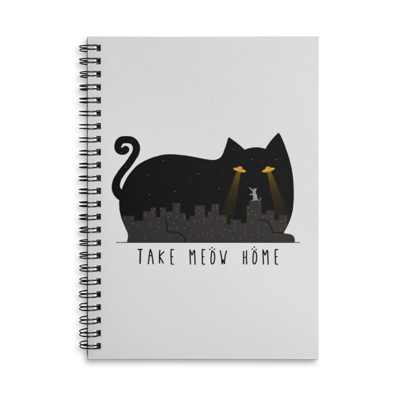 Take Meow Home Accessories Lined Spiral Notebook by godzillarge's Artist Shop