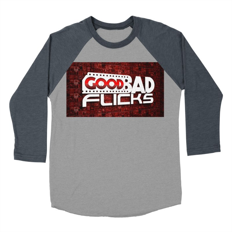 Good Bad Flicks (Logo with Background) Men's Baseball Triblend Longsleeve T-Shirt by Good Bad Flicks