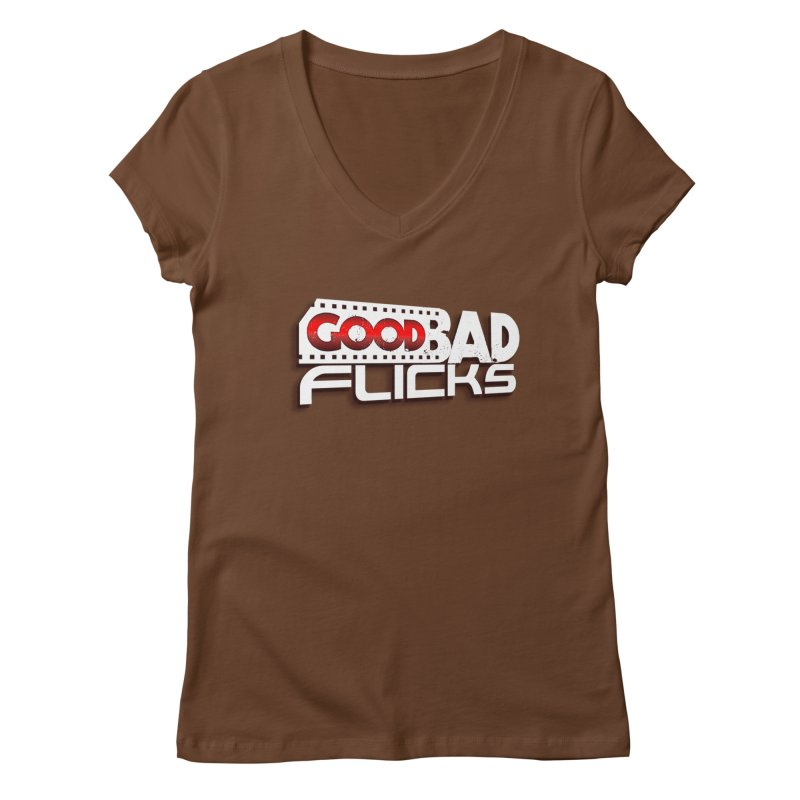 Good Bad Flicks (Logo with Shadow) Women's Regular V-Neck by goodbadflicks's Artist Shop