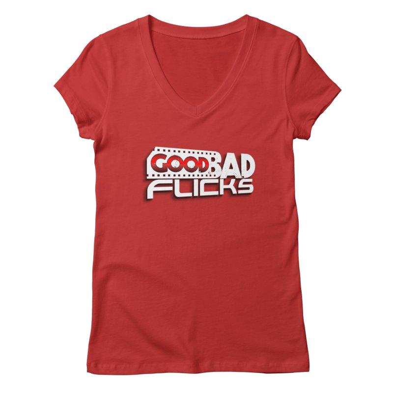 Good Bad Flicks (Logo with Shadow) Women's Regular V-Neck by Good Bad Flicks
