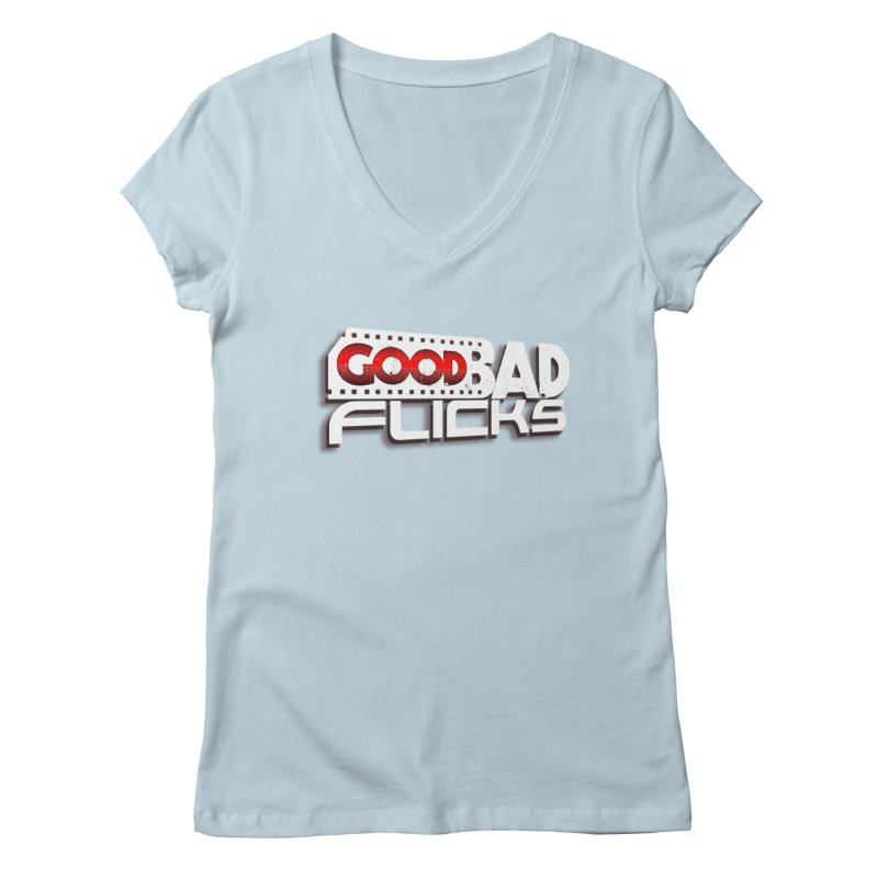 Good Bad Flicks (Logo with Shadow) Women's Regular V-Neck by Good Bad Flicks