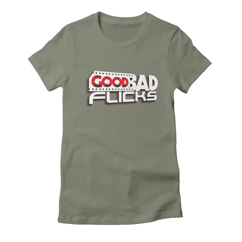 Good Bad Flicks (Logo with Shadow) Women's Fitted T-Shirt by goodbadflicks's Artist Shop