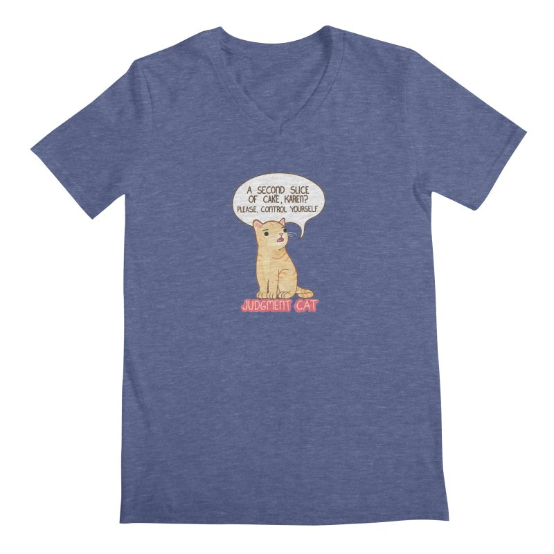 Judgment Cat - cake Men's Regular V-Neck by Good Bear Comics's Artist Shop