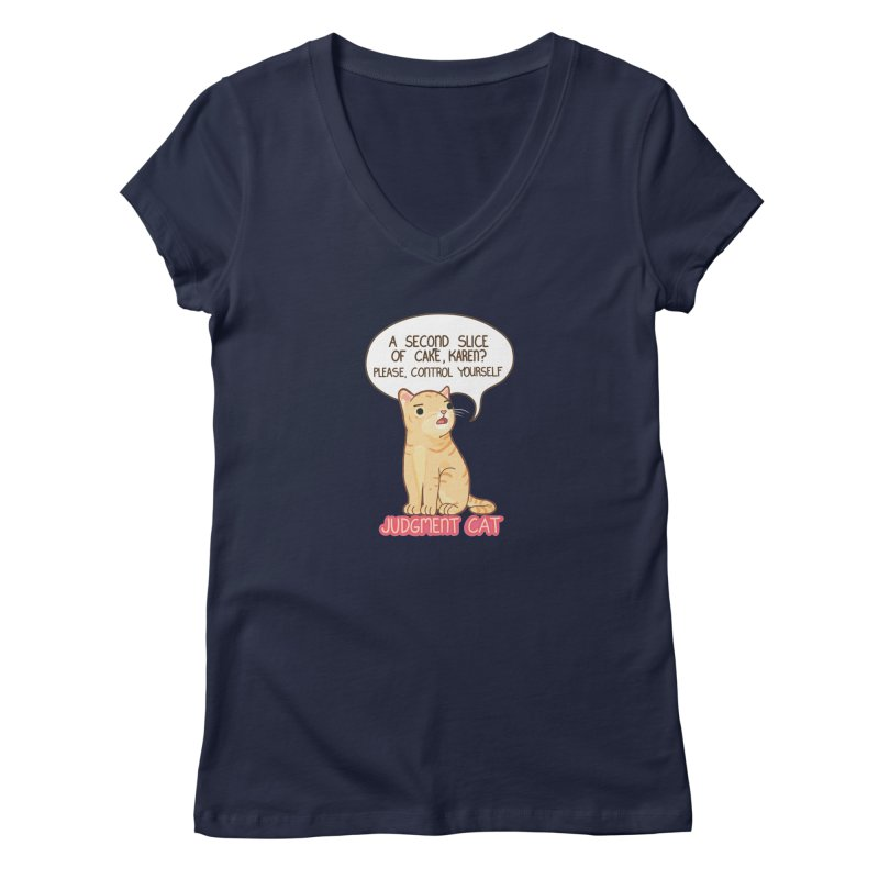 Judgment Cat - cake Women's Regular V-Neck by Good Bear Comics's Artist Shop