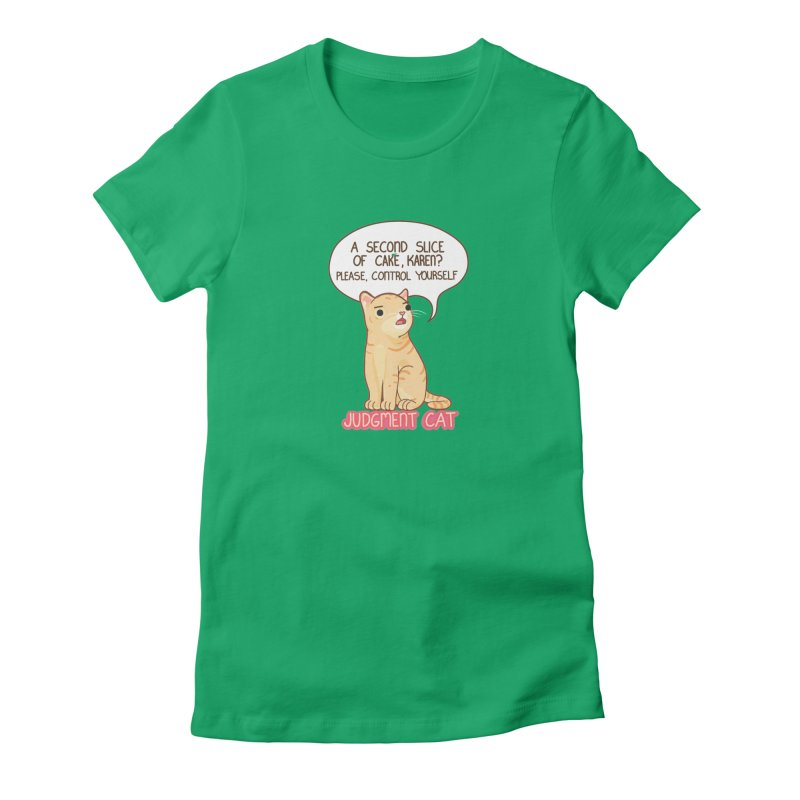 Judgment Cat - cake Women's Fitted T-Shirt by Good Bear Comics's Artist Shop