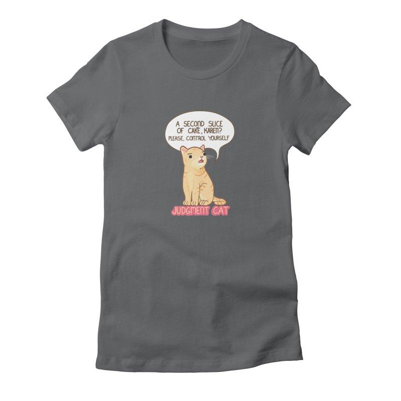 Judgment Cat - cake Women's Fitted T-Shirt by Good Bear Comics's Artist Shop