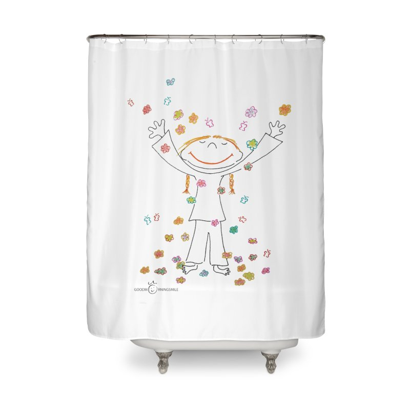 Happy Flower Girl Smile Home Shower Curtain by Good Morning Smile