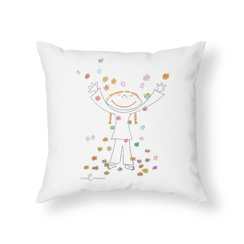 Happy Flower Girl Smile Home Throw Pillow by Good Morning Smile