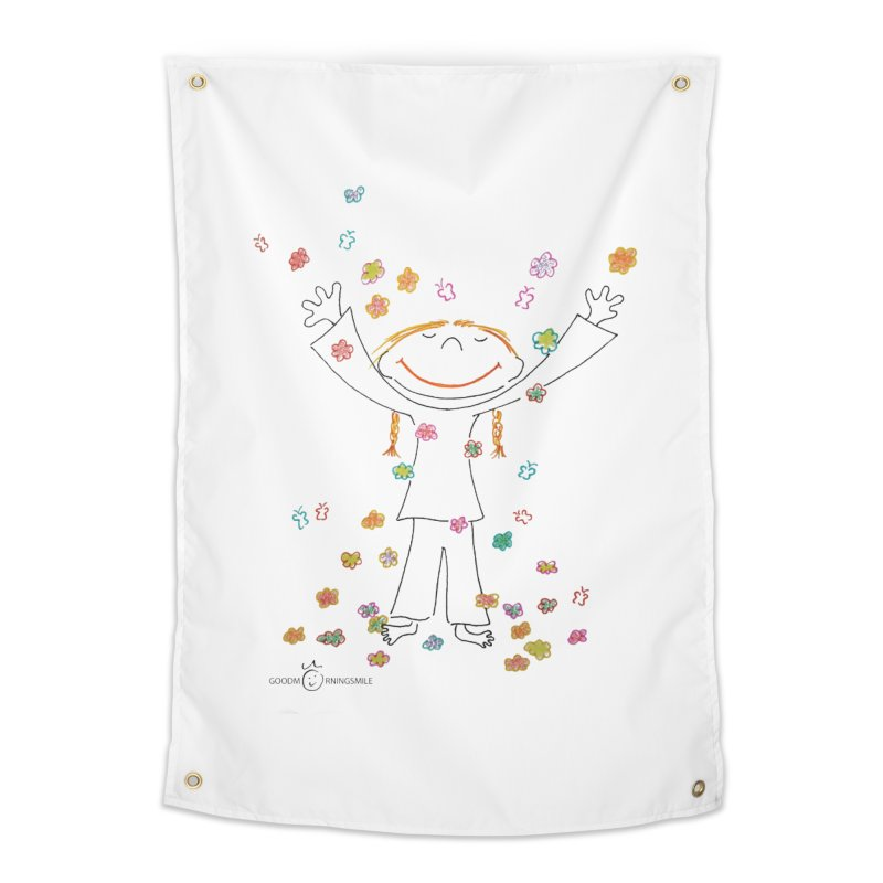 Happy Flower Girl Smile Home Tapestry by Good Morning Smile