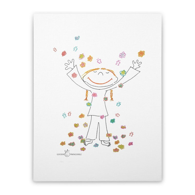 Happy Flower Girl Smile Home Stretched Canvas by Good Morning Smile