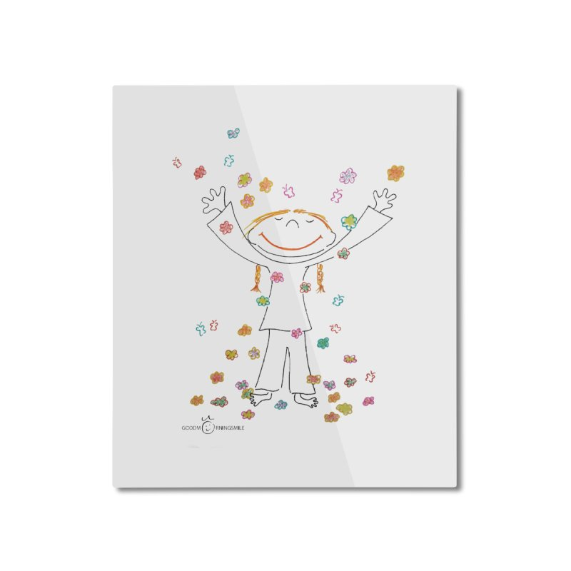 Happy Flower Girl Smile Home Mounted Aluminum Print by Good Morning Smile