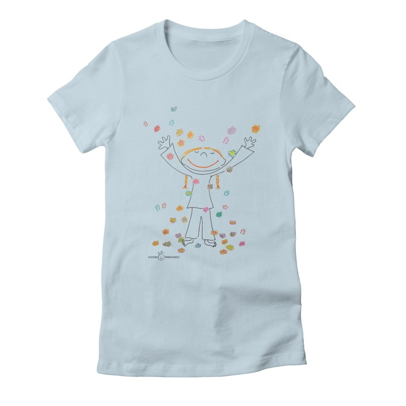 Happy Flower Girl Smile Women's T-Shirt by Good Morning Smile