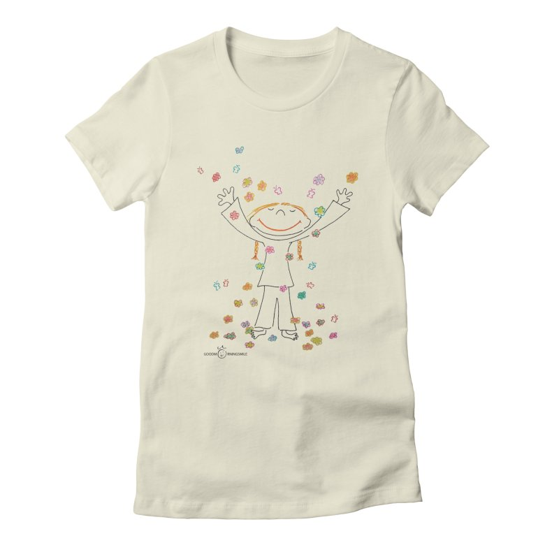 Happy Flower Girl Smile Women's Fitted T-Shirt by Good Morning Smile