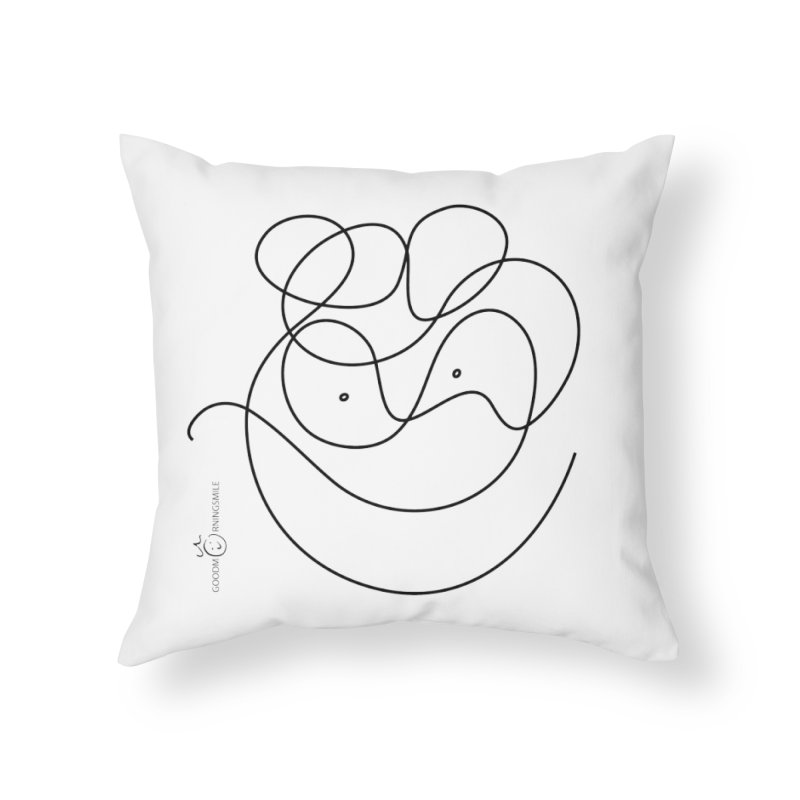 OneLine Smile Home Throw Pillow by Good Morning Smile