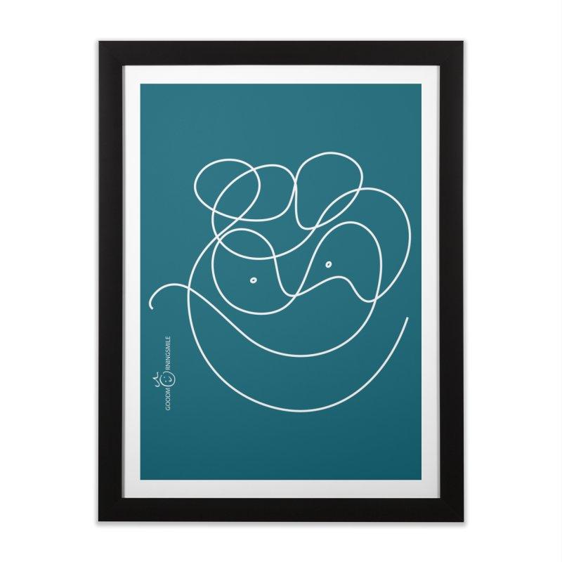 OneLine Smile (white) Home Framed Fine Art Print by Good Morning Smile