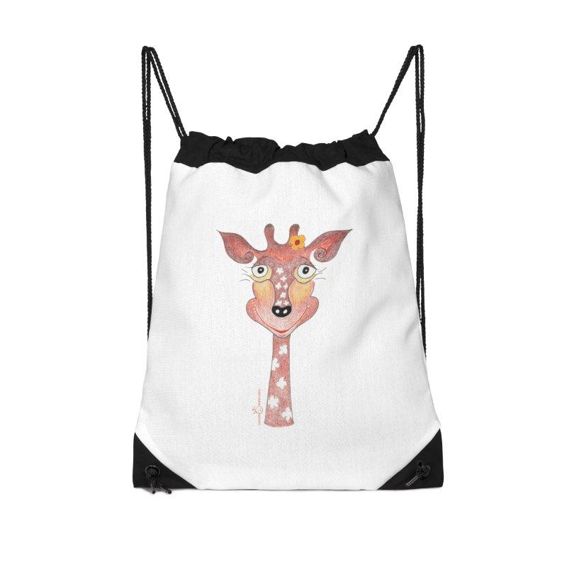 Giraffe Smile Accessories Drawstring Bag Bag by Good Morning Smile