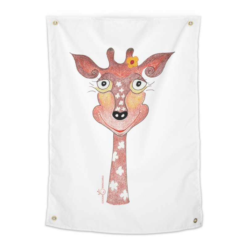 Giraffe Smile Home Tapestry by Good Morning Smile