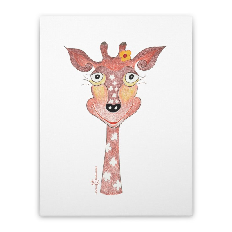 Giraffe Smile Home Stretched Canvas by Good Morning Smile