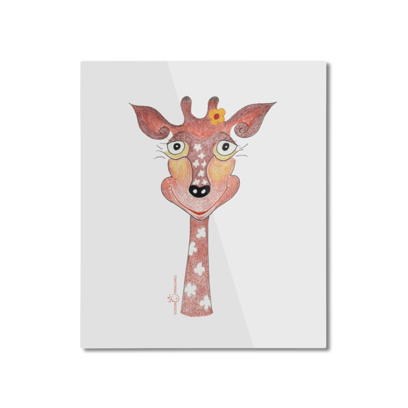 Giraffe Smile Home Mounted Aluminum Print by Good Morning Smile