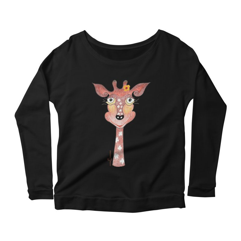 Giraffe Smile Women's Scoop Neck Longsleeve T-Shirt by Good Morning Smile