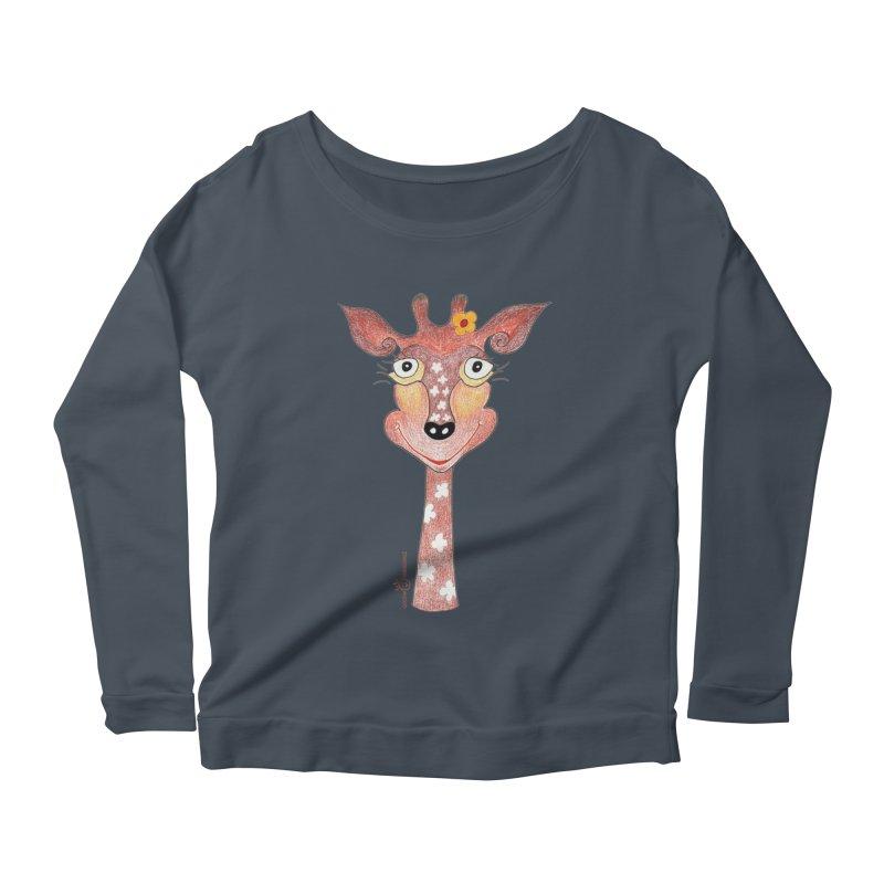 Giraffe Smile Women's Scoop Neck Longsleeve T-Shirt by Good Morning Smile