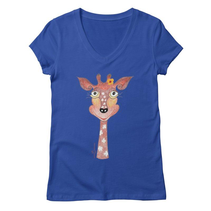 Giraffe Smile Women's Regular V-Neck by Good Morning Smile