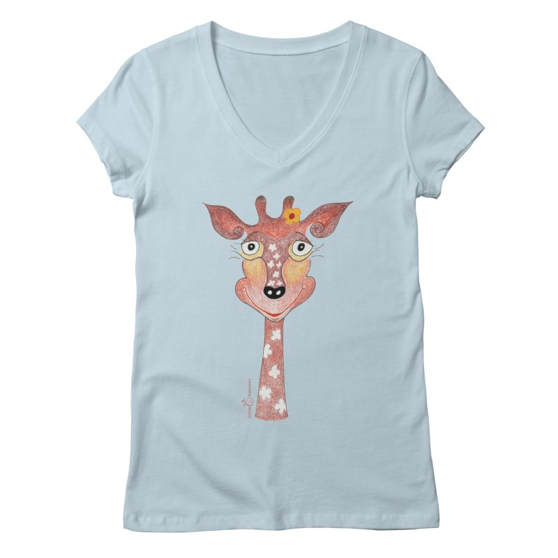Giraffe Smile Women's Regular V-Neck by Good Morning Smile