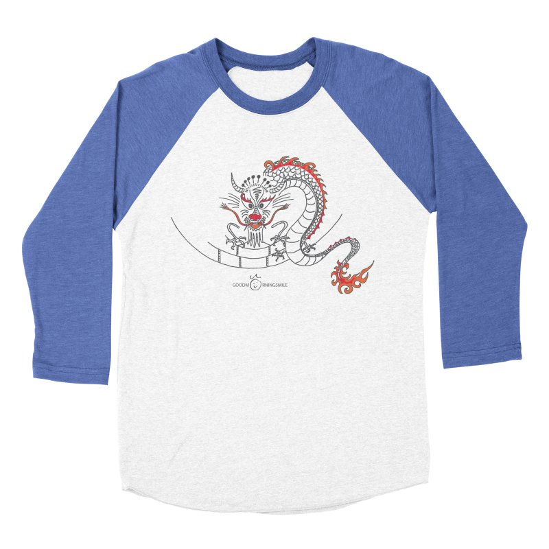 Dragon Smile Women's Baseball Triblend Longsleeve T-Shirt by Good Morning Smile