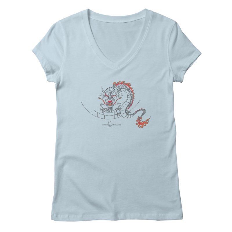 Dragon Smile Women's Regular V-Neck by Good Morning Smile