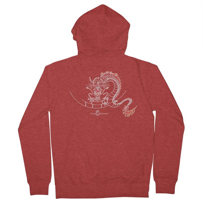 Dragon Smile (white) Men's French Terry Zip-Up Hoody by Good Morning Smile