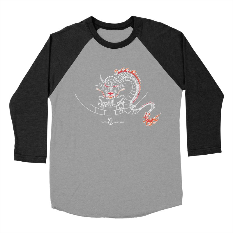 Dragon Smile (white) Men's Baseball Triblend Longsleeve T-Shirt by Good Morning Smile