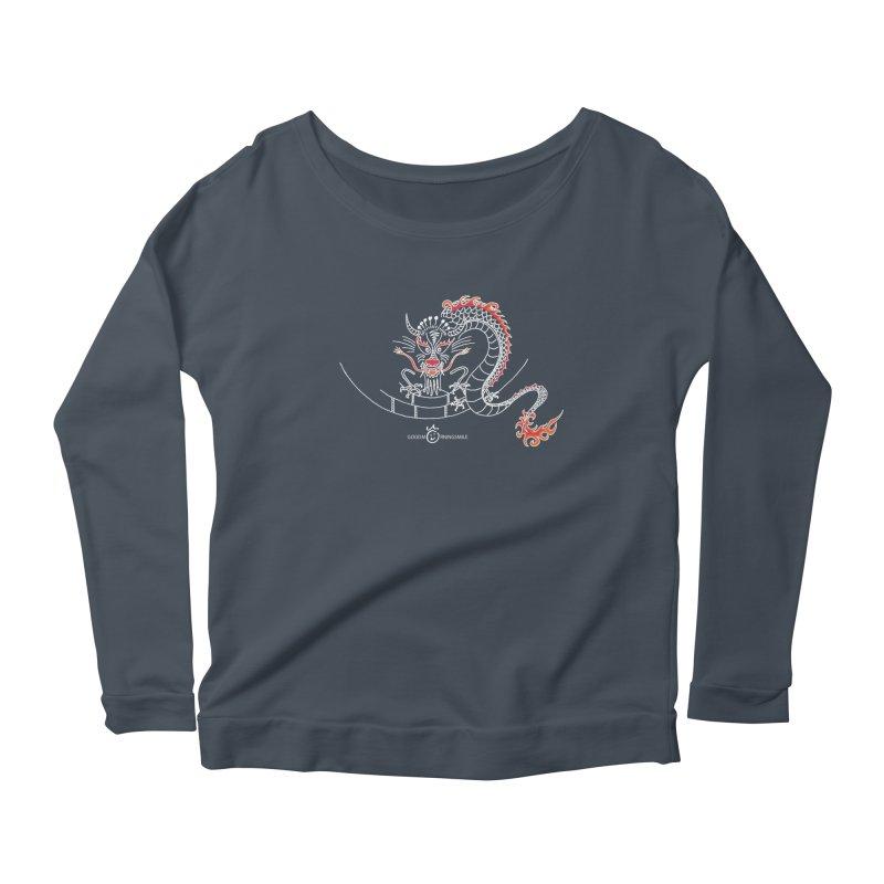 Dragon Smile (white) Women's Scoop Neck Longsleeve T-Shirt by Good Morning Smile