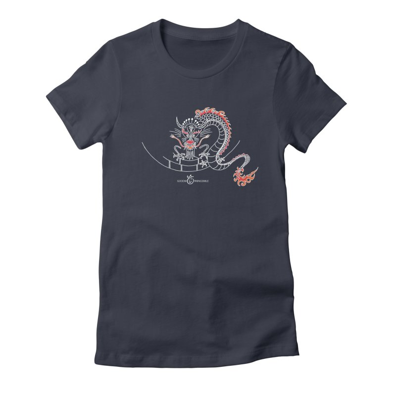 Dragon Smile (white) Women's Fitted T-Shirt by Good Morning Smile